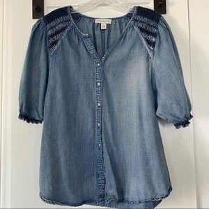 Vintage America Denim Shirt Top Smock Detail S/M